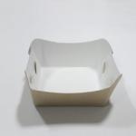 ถาดใส่ขนม/ถาดขนมปัง/ถาดชิม/ถาดอาหาร คราฟท์ขาว-หลังน้ำตาล กว้าง 5.0 x ยาว 5.0 x สูง 2.7 ซม.