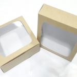 กล่องบราวนี่ กล่องชิฟฟ่อน กล่องช๊อกโกแลต กล่องพาย กล่องขนมเปี๊ยะ ลายคราฟท์หน้าขาวหลังน้ำตาล กว้าง15.0 x ยาว 15.0 x สูง 5.0 ซม.