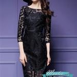 พร้อมส่ง ชุดเดรสทำงาน ผ้าเกาหลี ผ้าโปร่งปักแขนยาวลายดอกไม้ สีดำ (ซิปหลัง) **พร้อมส่งไซส์ M , L , XL , 4XL**