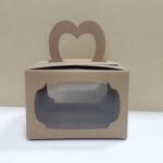 กล่องคุ๊กกี้หูหิ้ว 18 x 14 x 10 ซม.กล่องขนม กล่องคัพเค้ก กล่องเค้ก กล่องเบเกอรี่ สีคราฟท์น้ำตาล แบบหน้าต่าง 2 ด้าน