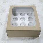 กล่องคัพเค้ก กล่องคัพเค้ก 12 ชิ้น ลายคราฟท์ (พร้อมฐานคัพเค้ก)