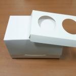 กล่องคัพเค้ก 2 ชิ้น / กล่องขนม สีขาว พร้อมฐานรองคัพเค้กแบบ 2 ช่อง