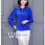 Preorder เสื้อทำงาน สีน้ำเงิน ผูกโบว์หน้า เรียบหรู ช่วงคอและแขนแต่งระบายน่ารัก เนื้อผ้าระบายอากาศได้ดี