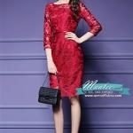 พร้อมส่ง ชุดเดรส/ชุดออกงาน ผ้าเกาหลี ผ้าโปร่งปักแขนยาวลายดอกไม้ สีแดง (ซิปหลัง) **พร้อมส่งไซส์ M , XL , 4XL **