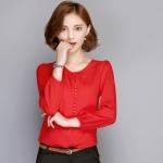 Preorder เสื้อทำงาน สีแดง คอกลม แขนยาว แต่งกระดุมเรียงสวย เนื้อผ้าระบายอากาศได้ดี