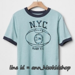 2016 GAP KIDS RUGBY T-Shirt - Mineral Blue ขนาด 8 ปี