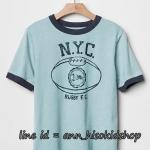 2016 GAP KIDS RUGBY T-Shirt - Mineral Blue ขนาด 8 ปี