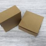 กล่องสแน็ค กล่องเค้ก กล่องขนม ขนาด 10.0 x 10.0 x 4.7 ซม. Snack Box กล่องอาหารว่าง กล่องคอฟฟี่เบรค สีคราฟท์น้ำตาล
