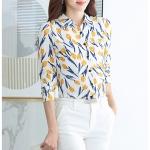 Pre-order เสื้อทำงาน คอปก สีขาว พิมพ์ลายดอกทิวลิปเหลือง งานสวยน่ารักมาก
