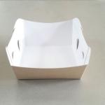ถาดใส่ขนม/ถาดขนมปัง/ถาดชิม/ถาดอาหารฟู้ดเกรดคราฟท์หน้าขาวหลังน้ำตาล กว้าง 10.3 x ยาว 9.2 x สูง 4.2 ซม.