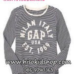 1037 Gap Kids Striped Short Sleeve - Navy Blue ขนาด 8 ปี