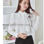 Preorder เสื้อทำงาน สีขาว Off-white แต่งคอระบาย ผูกโบว์คาดทับเก๋ไก๋
