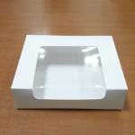 กล่องทรงหน้าต่างวีเชฟ 20.0x16.0x8.2ซม.กล่องเค้ก กล่องคัพเค้ก กล่องบราวนี่ กล่องชิฟฟ่อน กล่องช้อคโกแล็ต กล่องคุ๊กกี้ กล่องขนม สีขาว