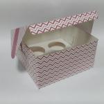 กล่องคัพเค้ก กล่องคัพเค้ก 4 ชิ้น(พร้อมฐานคัพเค้ก)ลายคลื่น