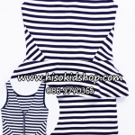 1104 H&M Striped Dress - Navy Blue/White ขนาด 34