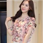 Preorder เสื้อทำงาน สีสันสดใส คอกลมแขนแต่งระบายเฉียง วีช่วงอกเก๋ๆ เนื้อผ้าพิม์ลายดอกไม้สวยหวาน