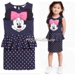 1220 H&M Minnie Dress - Navy Blue ขนาด 2-4,4-6,6-8,8-10,10-12,12-14 ปี