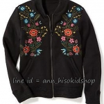 1964Old Navy Floral-Embroidered-Fleece-Bomber-Jacket- Black ขนาด 10-12 ปี (๋ส่งฟรี ลทบ.)