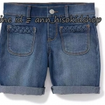 1838 Old navy Braided-Pocket Denim Shorts for Girls - Blue ขนาด 8,10 ปี