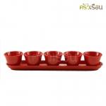 Superware ถาดยาว, ถ้วยชา เมลามีน สีแดง (ขายแยก)