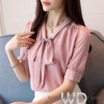 Pre-order เสื้อทำงาน สีชมพู คอวีผูกโบว์ แต่งลายในเนื้อผ้าสวย