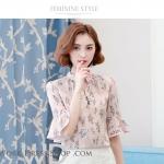 Preorder เสื้อทำงาน สีชมพูกลีบบัว คอจีน แขนแต่งระบาย พิมพ์ลายดอกไม้สวยหวาน เนื้อผ้าระบายอากาศได้ดี