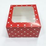 กล่องเค้ก กล่องเค้ก 1 ปอนด์ กล่องขนม กล่องเบเกอรี่ กล่องคัพเค้ก ลายแดงวงกลม 20.5x20.5x10ซม. 20ใบ/แพ็ค