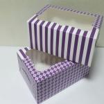 กล่องเค้ก กล่องคัพเค้ก 6 ชื้น กล่องขนม กล่องเค้กครึ่งปอนด์ กล่องเบเกอรี่ ลายม่วงสดใส 16x22.6x9ซม.20ใบ/แพ็ค