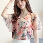 Preorder เสื้อทำงาน สีชมพู คอวี แขนระบาย ตัวเสื้อพิมพ์ลายดอกไม้สวยๆ