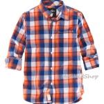 1268 H&M Cotton Shirt - Checked/Orange (งานแท้ 100%) ขนาด 8-9,9-10 ปี