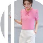 Preorder เสื้อทำงาน สีชมพู ผูกโบว์หน้า เรียบหรู ช่วงคอระบายน่ารัก แขนสั้น เนื้อผ้าระบายความร้อนได้ดี