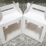 กล่องคุ๊กกี้ กล่องขนม มีหูหิ้ว สีขาว กว้าง 15 x ยาว 10 x สูง 14 ซม.