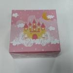 กล่องสแน็ค กล่องอาหารว่าง Snack Box กล่องคอฟฟี่เบรค กล่องคัพเค้ก แบบไม่มีหน้าต่าง สีชมพูปราสาทเหลือง ขนาด 13.5 x 13.5 x 7.0 ซม.