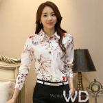 Pre-order เสื้อทำงาน สีขาว คอปกแขนยาว พิมลายดอกไม้กราฟฟิคสวยหวาน