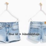 1809 Zara short jeans - Blue ยีนส์ขาสั้นเนื้อนุ่ม ใส่สบาย ปรับลดเอวได้ ขนาด 8-14 ปี