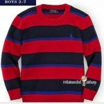 1160 Polo Ralph lauren Stripe Crew-Neck Sweater - Red ขนาด 6 ปี