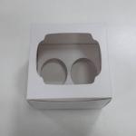 กล่องคัพเค้ก 2 ชิ้น สีขาว 15.2x13x10ซม.กล่องคัพเค้กพร้อมฐานรองคัพเค้ก (ช่องใส่คัพเค้กกว้าง 6.4ซม.) 20ใบ/แพ็ค