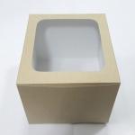 กล่องเค้ก กล่องเค้ก 1 ปอนด์ ทรงสูงพิเศษ กล่องเค้กฟองดอง กล่องขนม กล่องเบเกอรี่ กล่องคัพเค้ก ลายคราฟท์ขาวหลังน้ำตาล 20.3x20.3x15ซม. 10ใบ/แพ็ค