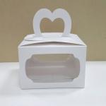 กล่องคุ๊กกี้หูหิ้ว 18 x 14 x 10 ซม.กล่องขนม กล่องคัพเค้ก กล่องเค้ก กล่องเบเกอรี่ สีขาว แบบหน้าต่าง 2 ด้าน