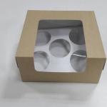 กล่องคัพเค้ก 5 ชิ้น ทรงหน้าต่างวีเชฟ 20.0x16.0x8.2ซม.กล่องเค้ก กล่องคัพเค้ก สีคราฟท์หน้าขาวหลังน้ำตาล พร้อมฐานรองคัพเค้ก (ช่องใส่คัพเค้กกว้าง 6.4ซม.) 20ใบ/แพ็ค