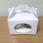 กล่องคัพเค้ก 2 ชิ้น มีหูหิ้ว สีขาว แบบมีหน้าต่าง พร้อมฐานรองคัพเค้ก
