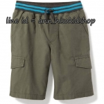 1839 Rib-Knit Waist Canvas Cargo Shorts for Boys - Gator Green ขนาด 10-12,14-16 ปี