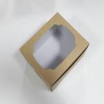 กล่องเค้ก 2 ชิ้น กล่องเค้ก กล่องขนม กล่องเบเกอรี่ กล่องคัพเค้ก คราฟท์หน้าขาวหลังน้ำตาล 15.2x13x10ซม. 20ใบ/แพ็ค