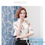 Preorder เสื้อทำงาน สีขาว คอจีน แขนแต่งระบาย พิมพ์ลายดอกไม้สวยหวาน เนื้อผ้าระบายอากาศได้ดี