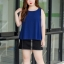 Pre-order เสื้อทำงาน สีน้ำเงินกรมท่า เสื้อคอกลมแขนกุด เนื้อผ้าซีฟองอย่างดีพร้อมซับใน ใส่ด้านในสูทก็สวยเก๋ thumbnail 3