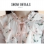 Preorder เสื้อทำงาน สีขาว คอตั้งแต่งระบายคอและช่วงแขนน่ารัก พิมพ์ลายดอกไม้สวยหวาน เรียบร้อยมากค่ะ thumbnail 13