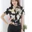 Preorder เสื้อทำงาน คอจีน สีดำ ผ้าพิมพ์ลายดอก เนื้อผ้าระบายอากาศได้ดี แขนสั้น thumbnail 7