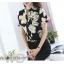 Preorder เสื้อทำงาน คอจีน สีดำ ผ้าพิมพ์ลายดอก เนื้อผ้าระบายอากาศได้ดี แขนสั้น thumbnail 2