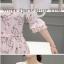 Preorder เสื้อทำงาน สีชมพู ผูกเอว ผ้าพิมพ์ลายนก แขนแต่งระบายสวย thumbnail 9