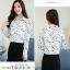 Pre-order เสื้อทำงาน สีขาว คอปก พิมพ์ลายดาวสวยสไตล์เกาหลี thumbnail 4